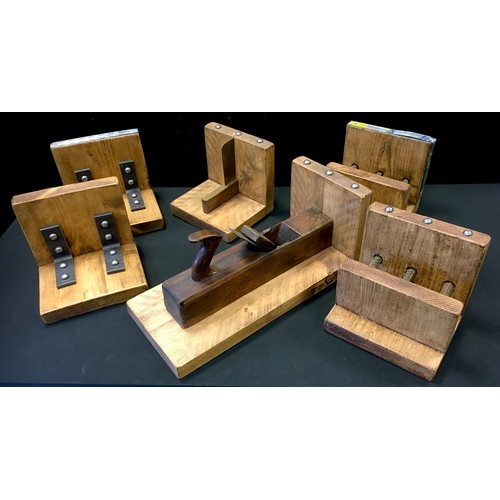 47 - Scratch built oak novelty book ends decorated with wood working plane and set square, industrial sal...