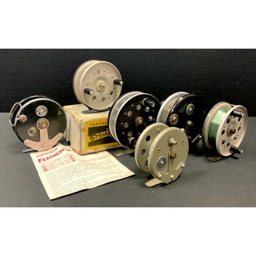 49 - Six Strike Right reels including Featherflo with original leaflet & box; others (6)