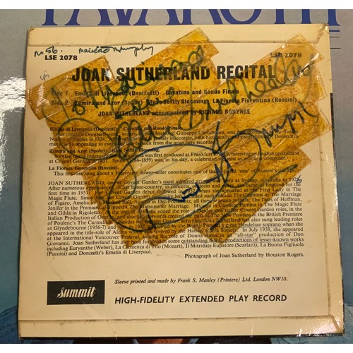 58 - Vinyl Records - mostly Lps, part signed inc Joan Sutherland, Richard Bonynge, other unsigned, Arias,...