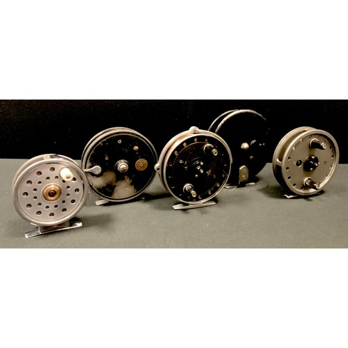 60 - A J. W. Young & Sons Ltd. Rapidex centrepin reel; another; a Trudex; others (5)