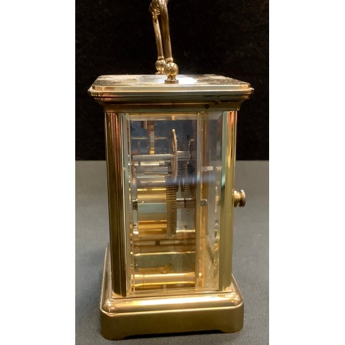 2 - A carriage clock by Matthew Norman, with white enamel dial with Roman numerals and makers name, the ...