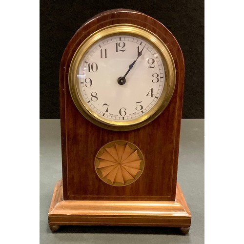 6 - An Edwardian mahogany mantel clock possibly by Duverdry & Bloquel, dome top, Arabic numerals, inlaid...