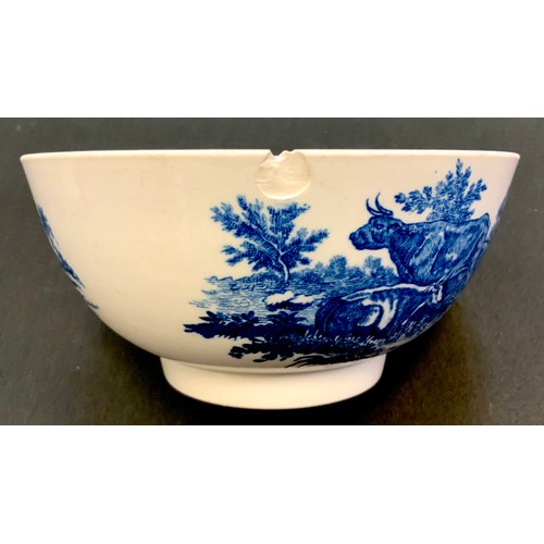 7 - A Worcester Dr Wall period bowl, decorated with pastoral scenes on blue on a white ground, crescent ...