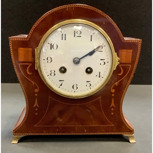 14 - An Edwardian inlaid mahogany mantel clock, French movement, enamelled face, Roman numerals, brass sp...