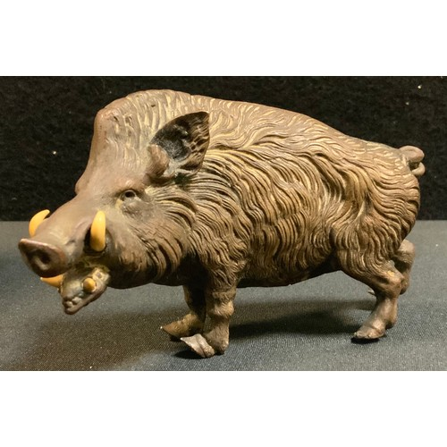 16 - A late Victorian cast Animalier Bronze model of a wild boar, standing mouth open at the ready, 70mm ...