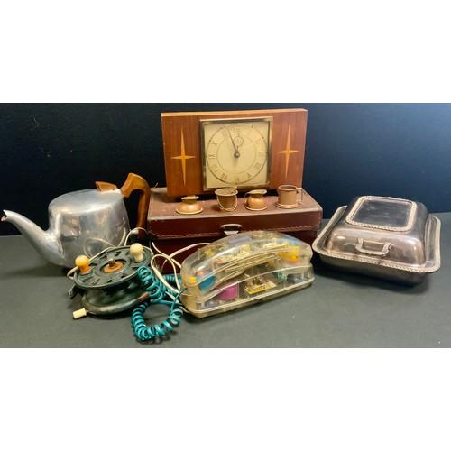 19 - A retro Mybelle spot light telephone; a Picquet ware teapot; an EPNS rectangular entrée dish and cov...