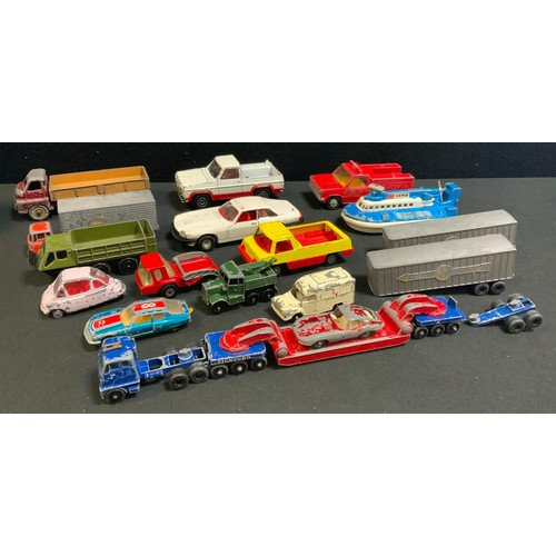 22 - Diecast vehicles including Corgi toys; Dinky and Lesney, including pickup trucks, transporter, etc, ...