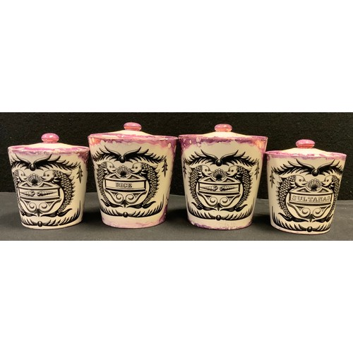 26 - Kitchenalia - a set of four Grays pottery armorial type storage vessels, Rice, Sultanas etc...