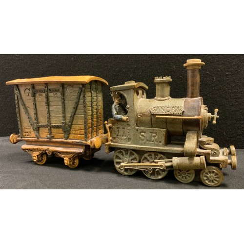 28 - A Charles Forester ceramics studio pottery Locomotive tank engine and goods wagon, 4-4-0 SR locomoti...