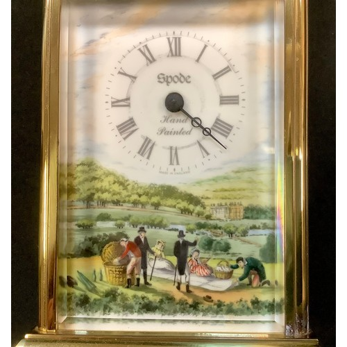 30 - A Spode brass carriage clock with hand painted picnic scene, ceramic side panels. Boxed. 19.5cm high...