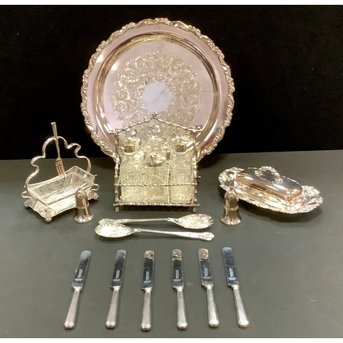 38 - Plated Ware -  six piece cruet, butter dish and cover, pickle dish and forks, berry spoons, salver, ...
