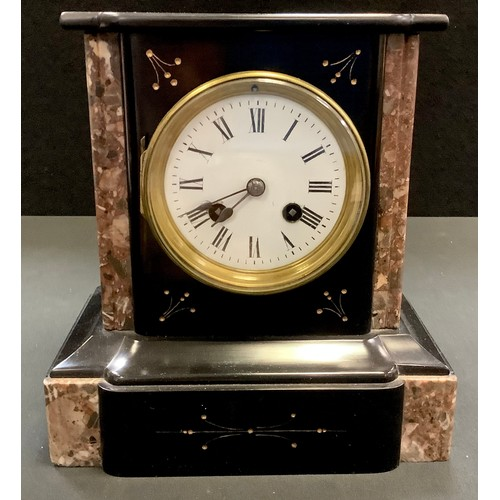 40 - A Victorian black slate and marble mantel clock, enamelled face, Roman numerals, plinth base. 23cm h...