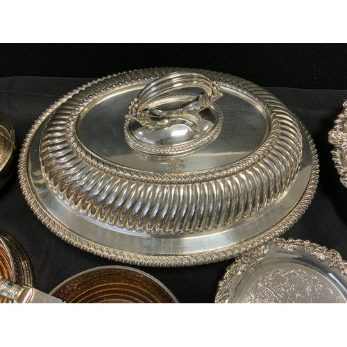 44 - Silver Plate - a late 19th century oval entree dish, monogrammed initials EBG, bayonet loop handle; ...