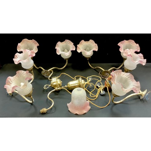 45 - Lighting - four two branch wall sconces; a counter balance two branch ceiling lamp. (5)...