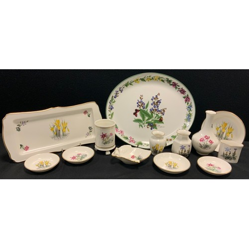 50 - A Royal Worcester Herbs pattern oval platter, Alpine Flowers pattern shaped rectangular tray, vases,...