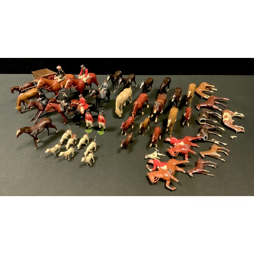 51 - Britains lead fox hunting part set including huntsmen on horse and foot; three lady riders, dogs (so...