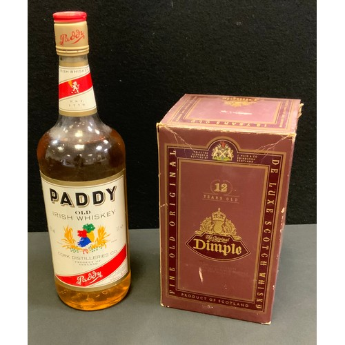 52 - Alcohol - Dimple, 12years old, fine old original de luxe scotch whisky, 40%vol, 75cl, boxed; another...