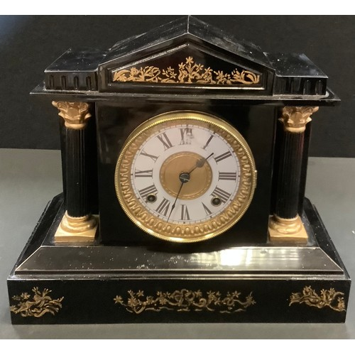 64 - An Ansonia Japanned metal mantel clock, architectural pediment, paper chapter ring, Roman numerals, ...
