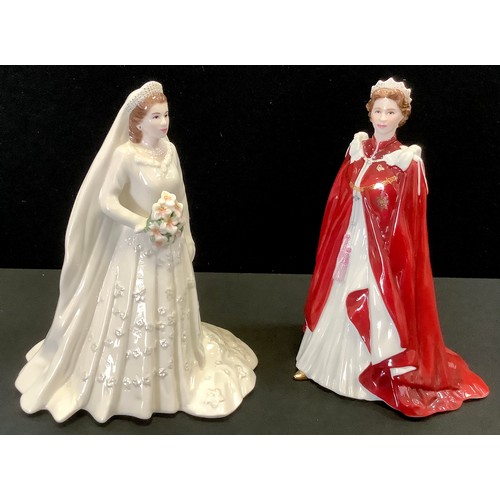 "73 - Royal Worcester figures - In Celebration of the Queen's 80th birthday 2006"" and ""Her Majesty Queen E..."