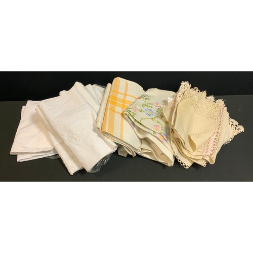 77 - Textiles  - linens and table cloths etc inc bolster covers, embroidered items etc qty; Ephemera - Tr...
