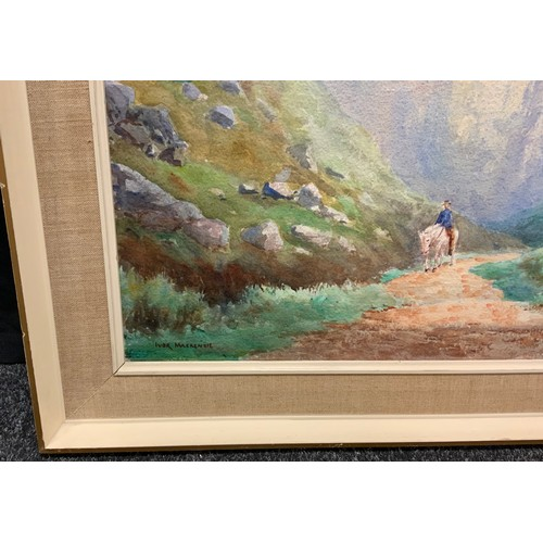 78 - Ivor Mackenzie, Riding the Ravine, Sheep to the side, signed, watercolour, 47cm x 63cm