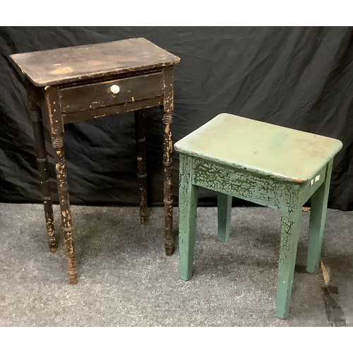85 - A painted pine side table, short drawer to frieze; a painted pine stool. (2)