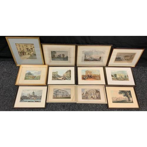 86 - Pictures & Prints - Engravings inc Grand Stand Doncaster;  Hampton Court Palace, Hyde Park Corner, M...