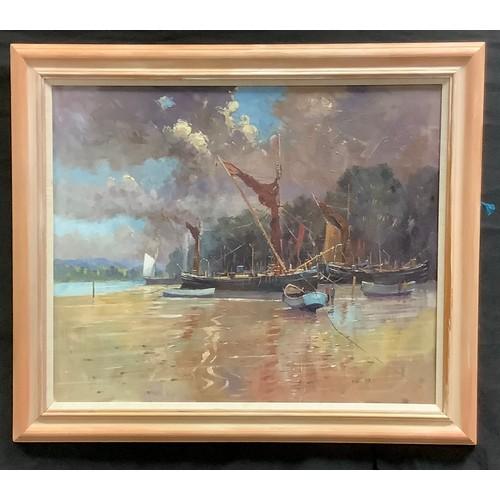 90 - David Noble (b.1945) Sheffield Artist  Pin Mill, Moored Boat signed, oil on board,  62cm x 75cm