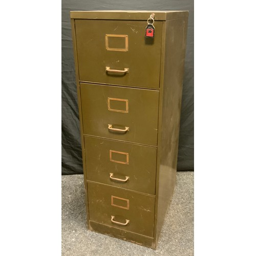 91 - A Vintage green painted metal four drawer filing cabinet, 132cm high, 45cm  wide, 61.56cm deep