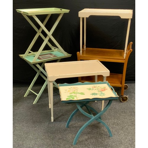 99 - An Edwardian Servex patent folding tray table;  other tray tables, one with print of Chatsworth Hous...