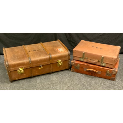 101 - Vintage luggage - metal and wooden bound traveling trunk, signed J.S.Benzecry, labelled W.H.JEFFCOAT...