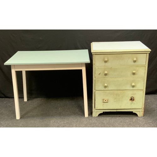 105 - A 20th century painted pine chest of drawers, rectangular top above four long drawers, bracket feet,...