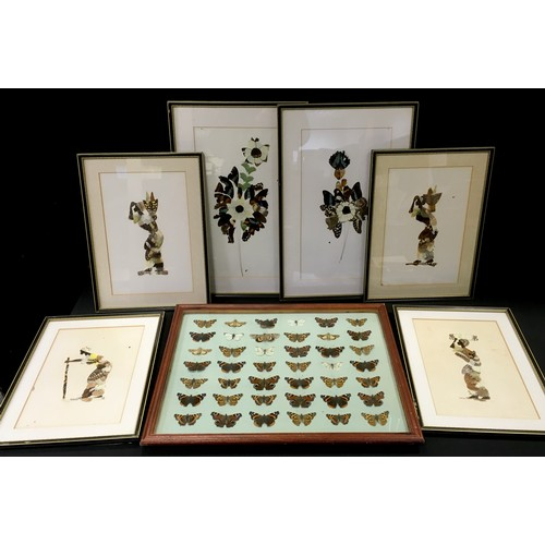 108 - Four framed collages of African ladies made with butterfly wings; another two, floral subjects; a mo...
