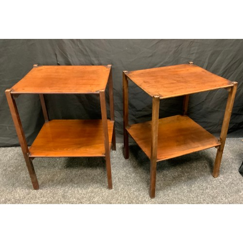 111 - A pair of George III mahogany two tier night stands, rectangular tops, square legs, 66cm high, 48.5c...