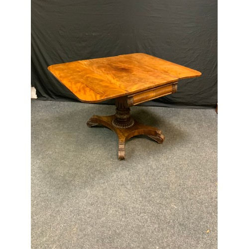 117 - A Victorian mahogany pembroke table, rounded rectangular top, drawer to frieze, blind to verso,  tur...