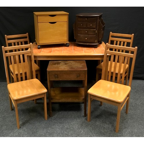 119 - A modern tile top kitchen table and four chairs; a modern occasional table/cantebury; a 1940's bedsi...