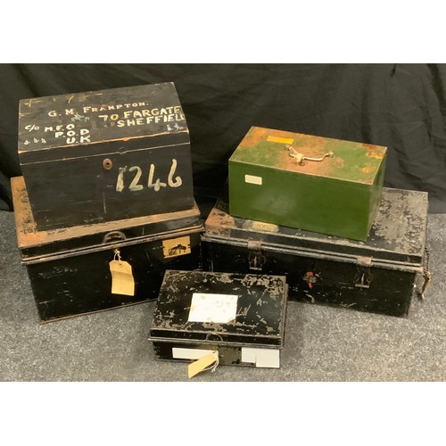 120 - Industrial salvage - a painted pine storage box, inscribed G.M.Frampton, 26cm high, 45cm wide, 29cm ...