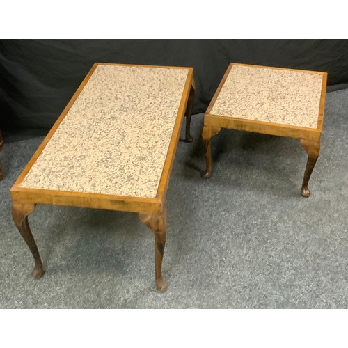 130 - A late 20th century coffee table, marble top, cabriole legs, 35cm high, 59cm wide; another late 20th...