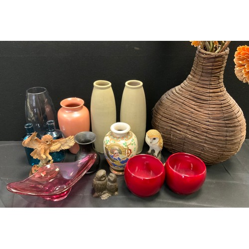 136 - Ceramics and glass - vases, owls, bottles etc.