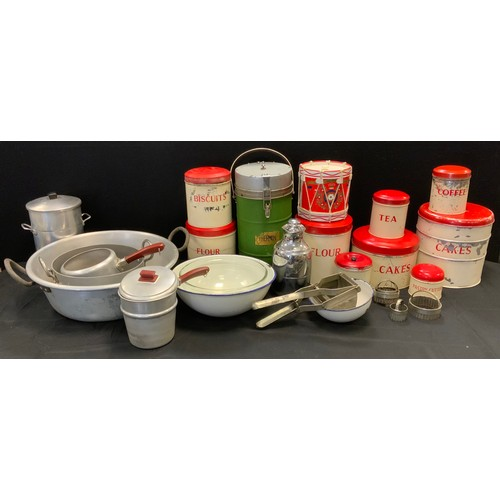 138 - Kitchenalia - a set of nine Tala cream and red tin storage jars, Cakes, Biscuits, Flour, Cutters, Co...