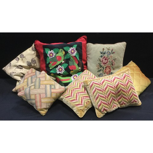 139 - Textiles - a large embroidered cushion, Parakeets & foliage, 53cm x 53cm;  others, bargello tapestry...