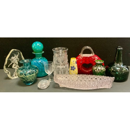 142 - A Whitefriars glass toby jug tankard; Laguna art glass handbag vase, Mdina bottle, etc