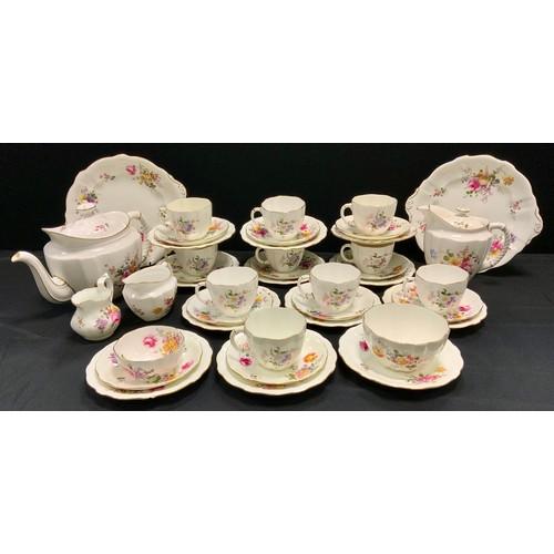 144 - A Royal Crown Derby posies pattern ten setting tea service, inc tea pot, milk jug, sugar bowl, cups,...