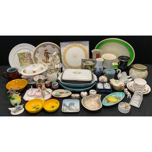 145 - Ceramics- a Royal Worcester 50th anniversary cake stand, boxed;  Quimper style plate;  Royal Copenha...
