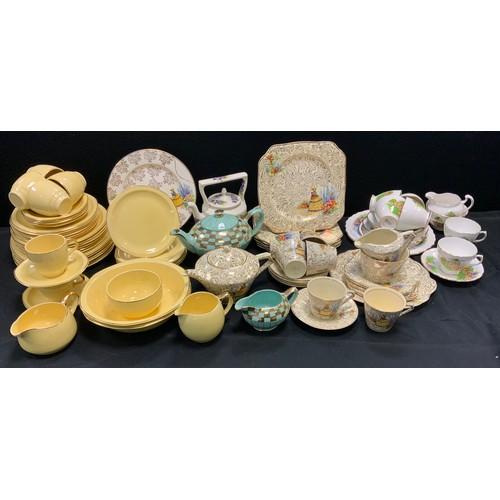 150 - Tableware - an Empire Chintz Shelton Ivory figural six setting tea service; Royal Tudor Primrosa pat...