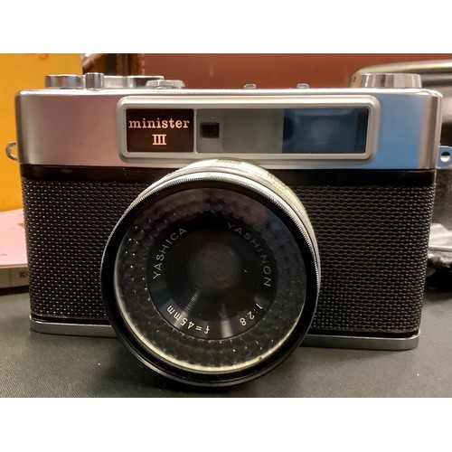152 - A Yashica minister III selenium metering ring around the 1:2.8 48mm lens, original case; a Kodak Ret...