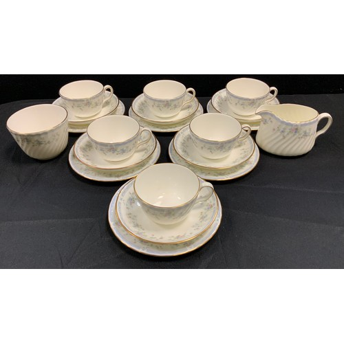 156 - A Minton Cliveden pattern six setting tea set, seconds qty