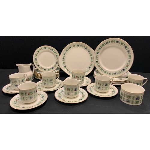 158 - A Royal Doulton Tapestry pattern six setting tea and dinner service inc dinner and side plates, cups...