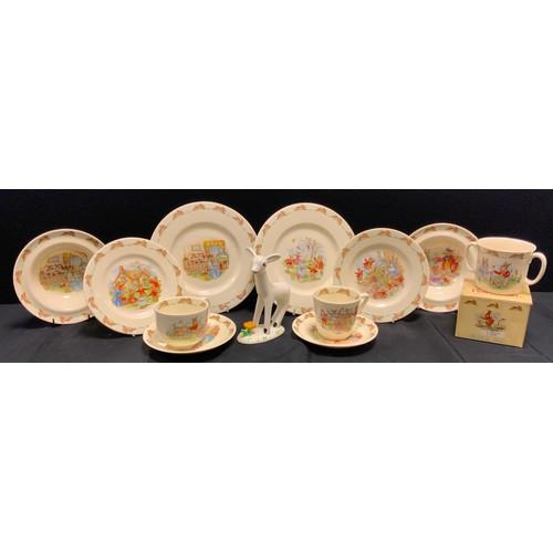 160 - A Royal Doulton Bunnykins nursery ware duet set inc Hugga cup, cups, saucers, bowls, plates etc;  a ...