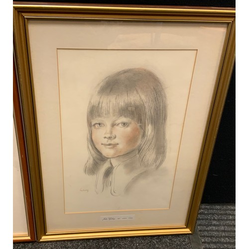 162 - John Gilroy ( MA, ARCA, FRSA)Portrait of a young girl,  sketch and wash, signed, 39.5cm x 25.5cm;  J...